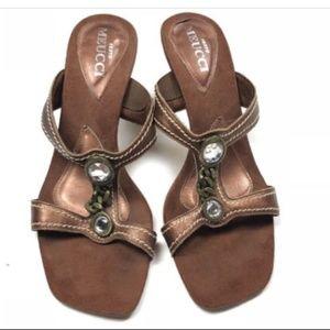 Sesto Meucci 7 Brown Rhinestone Strappy Heels